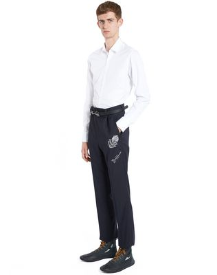 LANVIN EMBROIDERED STRAIGHT-LEG TROUSERS Pants U e