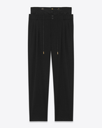 SAINT LAURENT Classic Pant U double waistband trouser in black virgin wool twill f