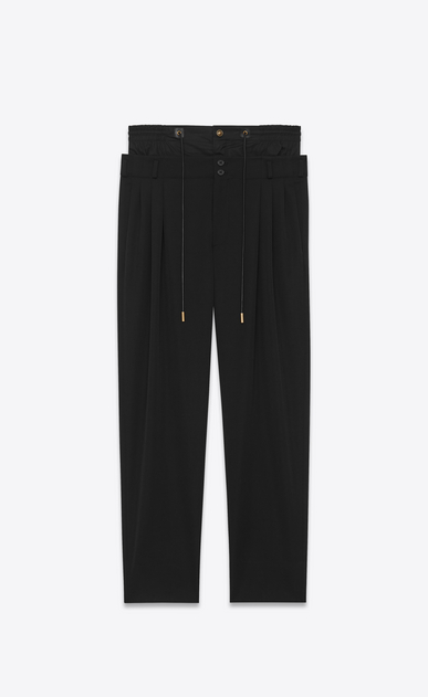SAINT LAURENT Classic Pant U double waistband trouser in black virgin wool twill a_V4