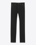 SAINT LAURENT Slim fit U jean slim à taille basse brodé en denim stretch noir effet usé f