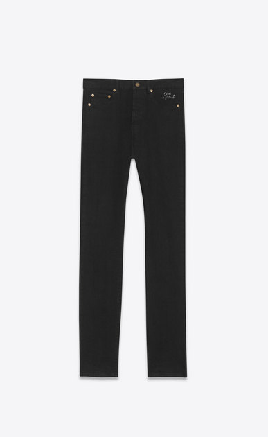 SAINT LAURENT Slim fit U jean slim à taille basse brodé en denim stretch noir effet usé a_V4