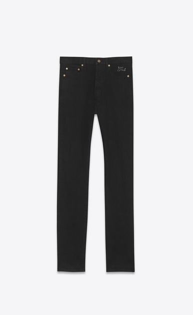 SAINT LAURENT Slim fit U embroidered low waisted slim jean in worn black stretch denim v4