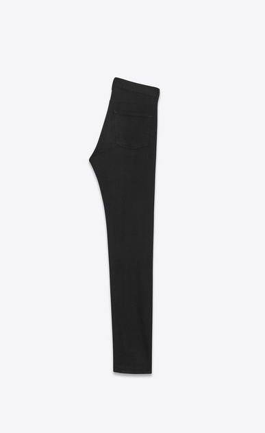 SAINT LAURENT Slim fit U embroidered low waisted slim jean in worn black stretch denim b_V4