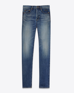 SAINT LAURENT Slim fit U embroidered low waisted slim jean in vintage blue denim f