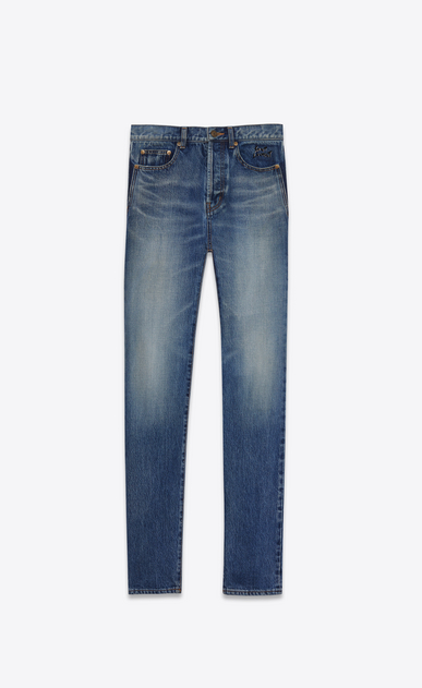 SAINT LAURENT Slim fit U embroidered low waisted slim jean in vintage blue denim a_V4