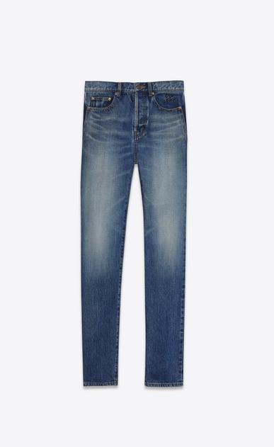SAINT LAURENT Slim fit U embroidered low waisted slim jean in vintage blue denim v4