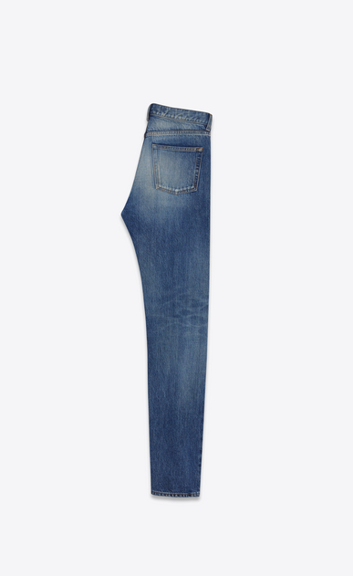 SAINT LAURENT Slim fit U embroidered low waisted slim jean in vintage blue denim b_V4
