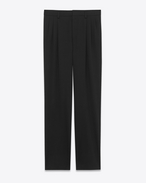 SAINT LAURENT Classic Pant U classic low waisted pleated trouser in black virgin wool gabardine f