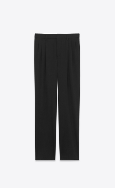 SAINT LAURENT Classic Pant U classic low waisted pleated trouser in black virgin wool gabardine v4