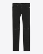 SAINT LAURENT Skinny fit U patched low waisted skinny jean in vintage worn black stretch denim f