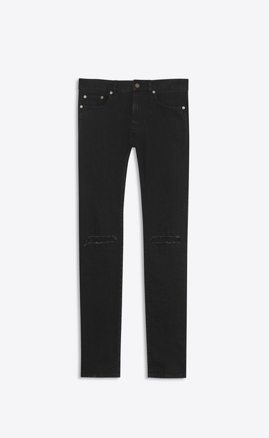 SAINT LAURENT Skinny fit U patched low waisted skinny jean in vintage worn black stretch denim a_V4