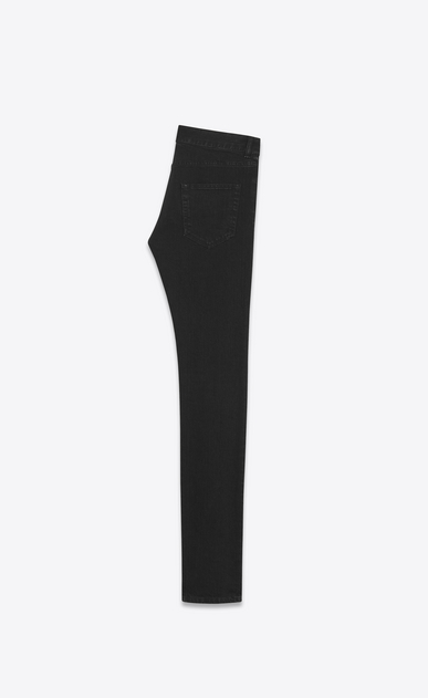 SAINT LAURENT Skinny fit U patched low waisted skinny jean in vintage worn black stretch denim b_V4