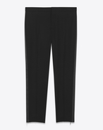 SAINT LAURENT Classic Pant U iconic le smoking low waisted cropped trouser in black gabardine f