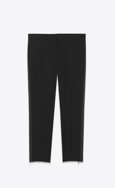 SAINT LAURENT Classic Pant U iconic le smoking low waisted cropped trouser in black gabardine a_V4