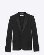 SAINT LAURENT Tuxedo Jacket D Iconic Le Smoking Cropped Jacket in Black Grain de Poudre Textured Wool f