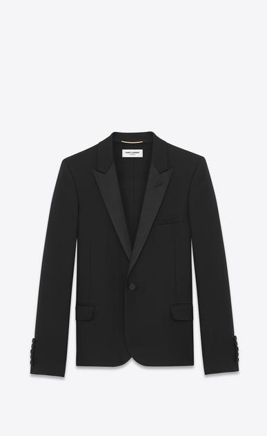 SAINT LAURENT Tuxedo Jacket D Iconic Le Smoking Cropped Jacket in Black Grain de Poudre Textured Wool a_V4