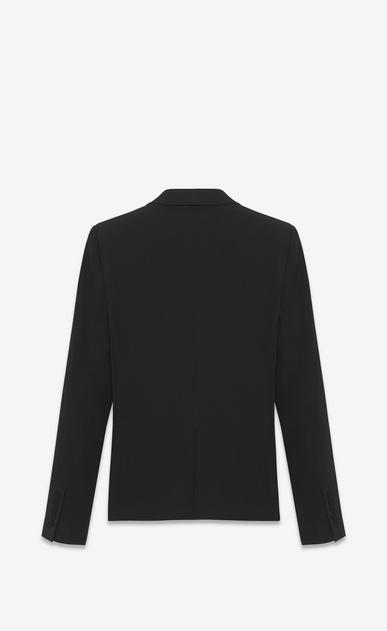 SAINT LAURENT Tuxedo Jacket D Iconic Le Smoking Cropped Jacket in Black Grain de Poudre Textured Wool b_V4