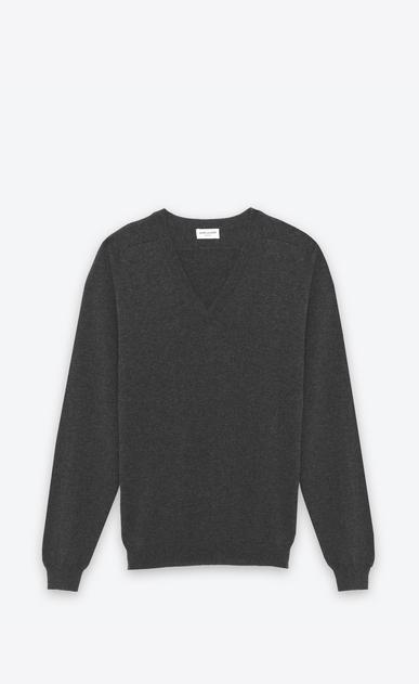 SAINT LAURENT Cashmere Tops U CLASSIC V-NECK SWEATER IN grey CAshemere a_V4