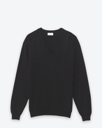 SAINT LAURENT Top in Cachemire U PULLOVER CLASSICO NERO IN CASHMERE CON SCOLLO A V f