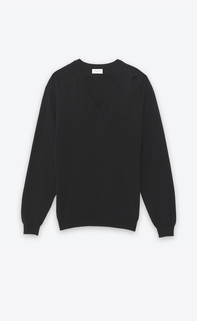 SAINT LAURENT Cashmere Tops U CLASSIC V-NECK SWEATER IN BLACK CAshemere a_V4