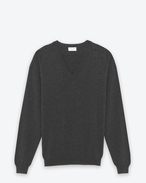 SAINT LAURENT Cashmere Tops U CLASSIC V-NECK SWEATER IN heather grey CAshemere f