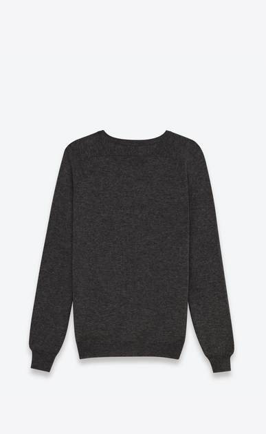 SAINT LAURENT Cashmere Tops U V NECK CARDIGAN IN HEATHER GREY CASHMERE b_V4