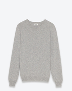 SAINT LAURENT Cashmere Tops U classic crew neck sweater in heather grey cashmere f