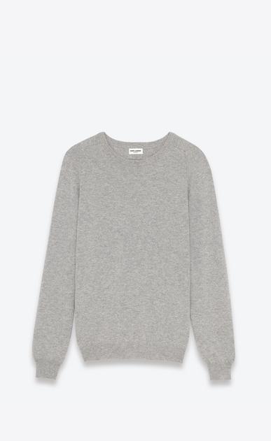 SAINT LAURENT Cashmere Tops U classic crew neck sweater in heather grey cashmere a_V4