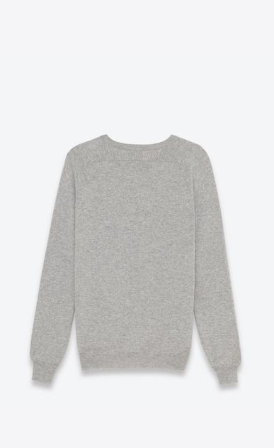 SAINT LAURENT Cashmere Tops U classic crew neck sweater in heather grey cashmere b_V4