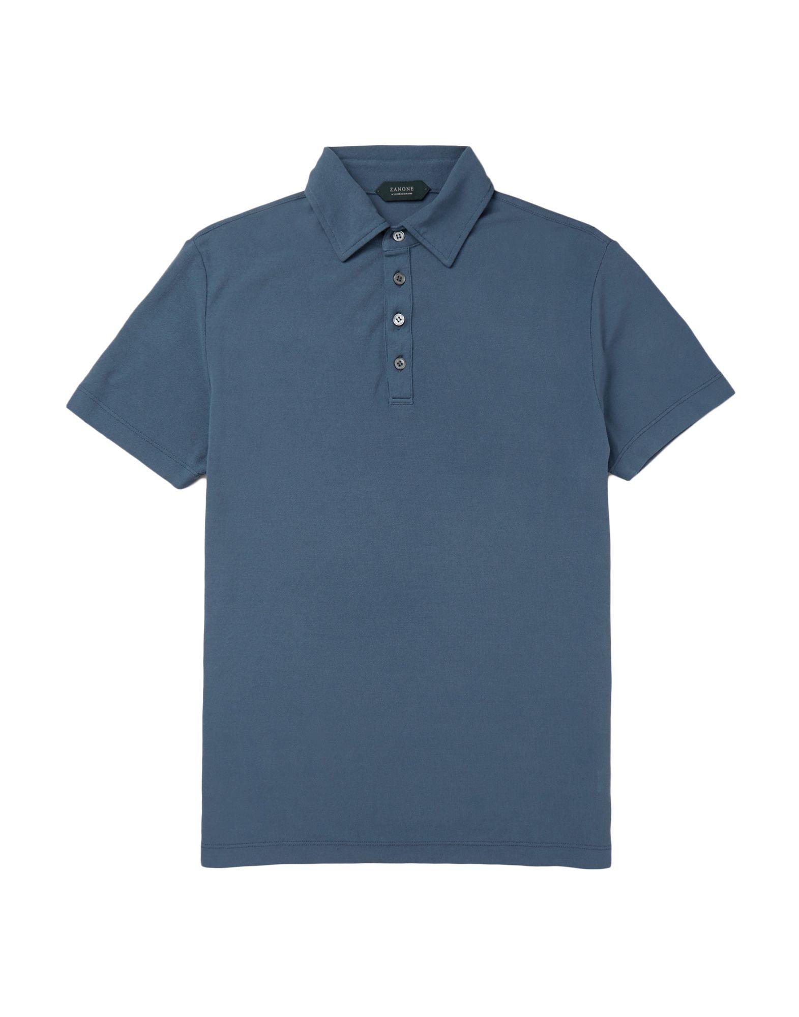 《送料無料》ZANONE メンズ ポロシャツ ブルーグレー 46 コットン 100%