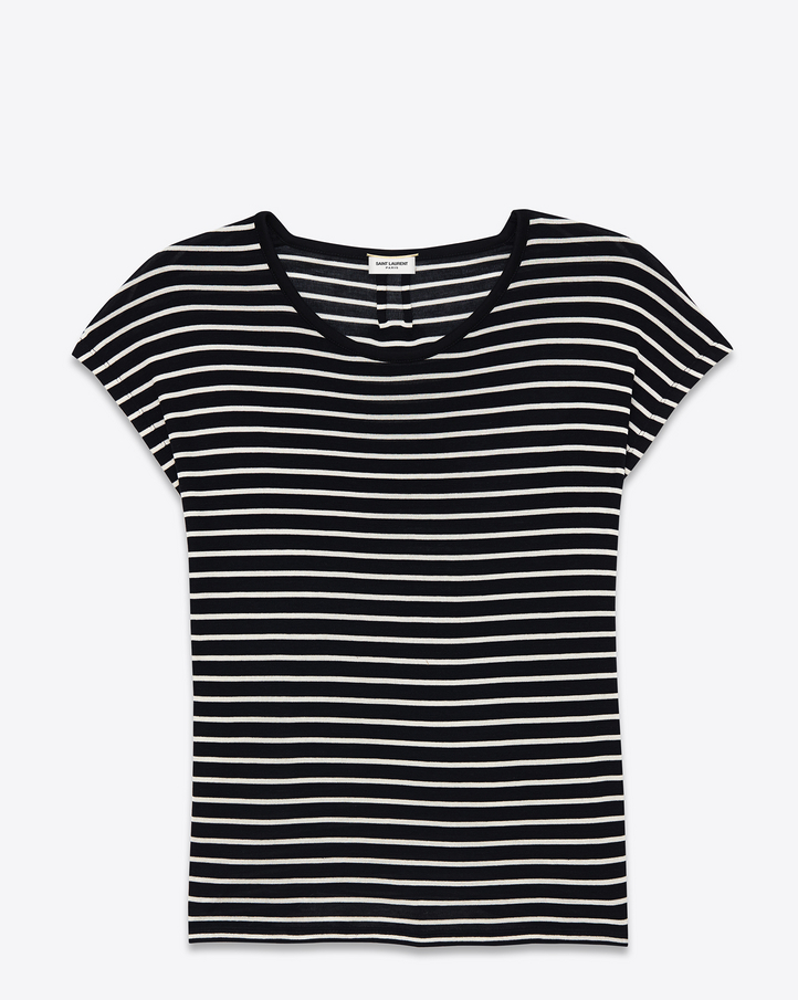Saint Laurent Loose T SHIRT IN BLACK And White Striped Silk Jersey ...