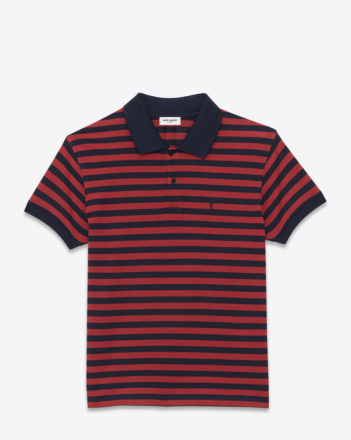 saint laurent classic polo shirt in navy blue and red