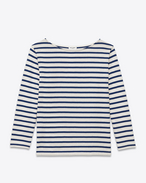 SAINT LAURENT T-Shirt and Jersey U CLASSIC MARINIÈRE Long sleeve Top IN IVORY and Navy Blue Striped Cotton Jersey f
