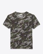 SAINT LAURENT Tシャツ U クルーネックTシャツ(グレー&カーキ/カモフラージュプリント コットンジャージー) f