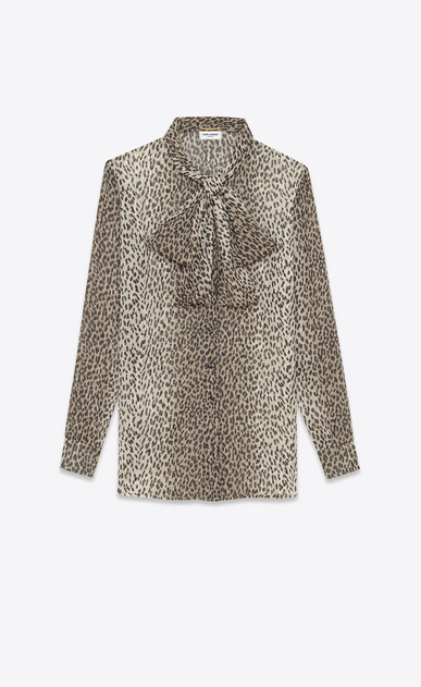 SAINT LAURENT Tops and Blouses D SIGNATURE LAVALLIÈRE BLOUSE IN BEIGE AND BLACK BABYCAT PRINTED SILK Georgette v4