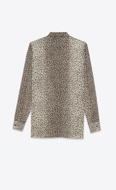 SAINT LAURENT Tops et blouses D Blouse à lavallière en georgette de soie à imprimé Babycat beige et noir b_V4