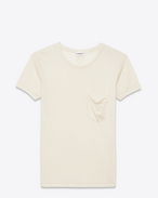 SAINT LAURENT T-Shirt and Jersey D CLASSIC SHORT SLEEVE POCKET T SHIRT IN ivory stonewashed silk f