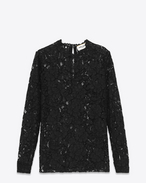 Long sleeve Top in Black Cotton and Nylon Floral Lace