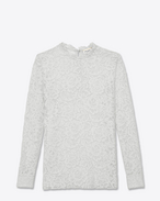 SAINT LAURENT Tops and Blouses D Long sleeve Top in Ivory Cotton and Nylon Floral Lace f