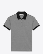 SAINT LAURENT Polos U CLASSIC POLO SHIRT IN BLACK AND Ivory Skinny STRIPED PIQUÉ COTTON f
