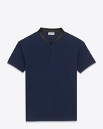 SAINT LAURENT Polo U SHORT SLEEVE BAND COLLAR POLO IN Navy Blue PIQUÉ COTTON and Black leather f