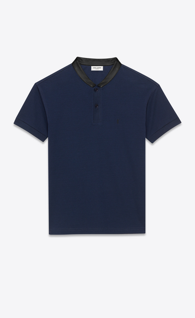SAINT LAURENT Polos U SHORT SLEEVE BAND COLLAR POLO IN Navy Blue PIQUÉ COTTON and Black leather a_V4