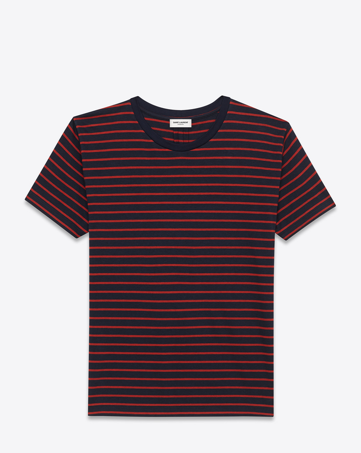 Saint laurent classic short sleeve t shirt in navy blue for Red blue striped shirt