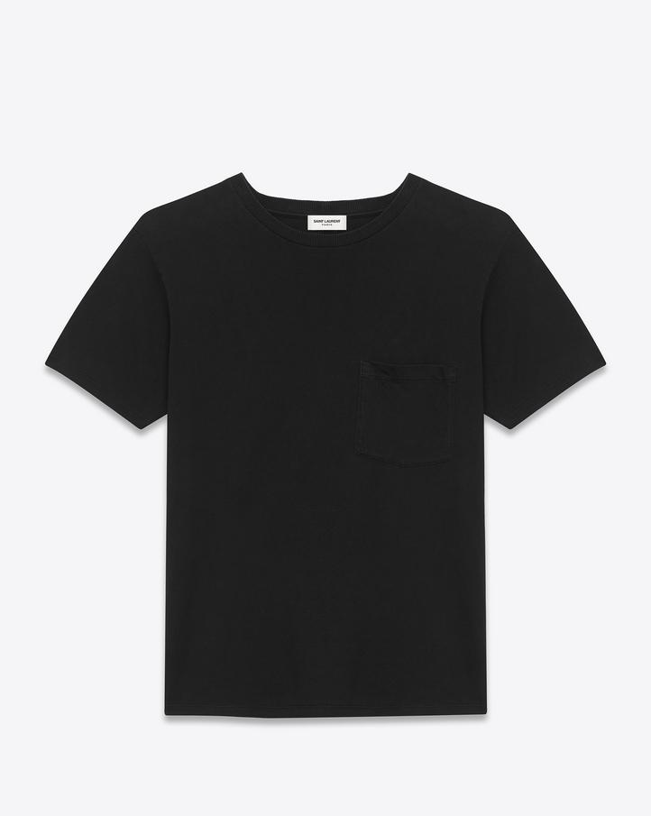 Saint Laurent CLASSIC SHORT SLEEVE POCKET T SHIRT IN BLACK Cotton ...