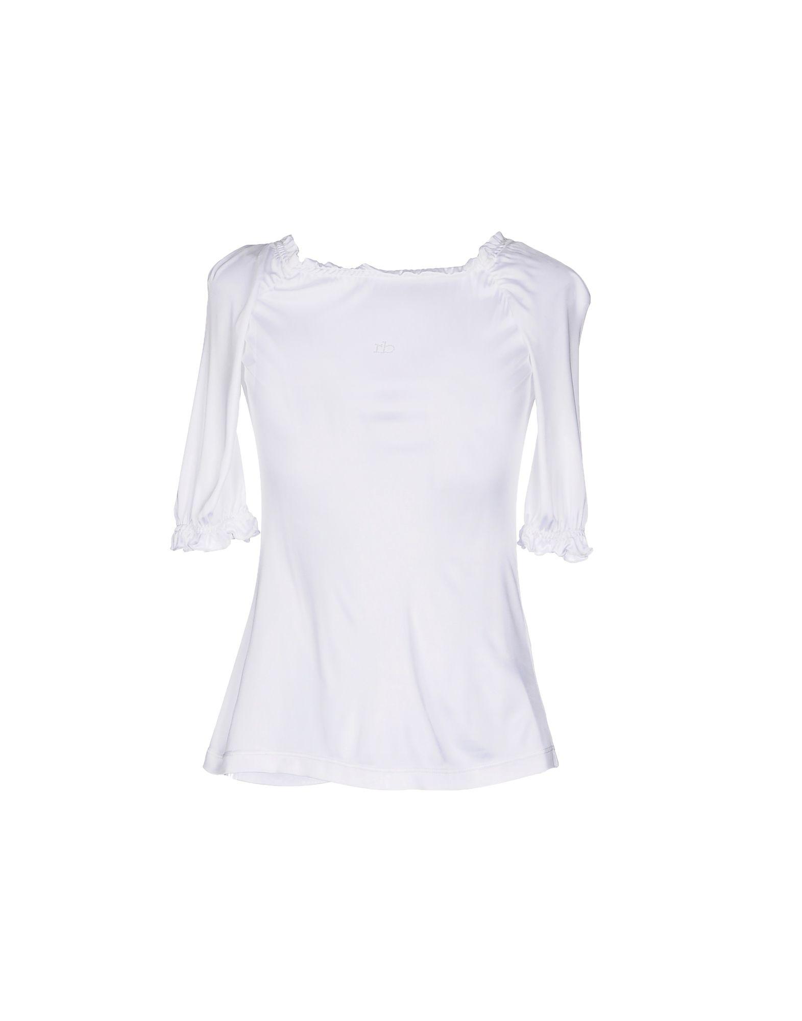 《セール開催中》ROCCOBAROCCO レディース T シャツ ホワイト 44 レーヨン 100%