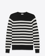 SAINT LAURENT Knitwear Tops D Boyfriend Sweater in Black and Ivory Striped Cashmere f