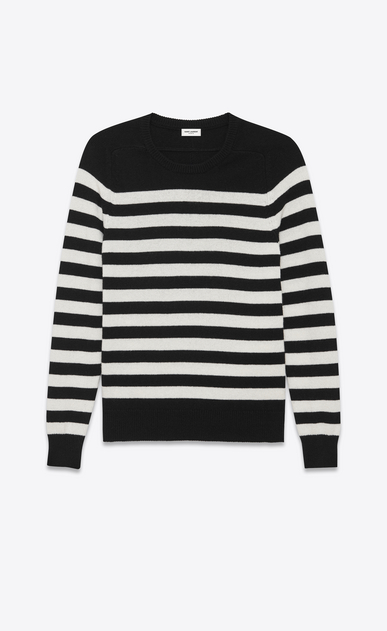 SAINT LAURENT Knitwear Tops D Boyfriend Sweater in Black and Ivory Striped Cashmere a_V4