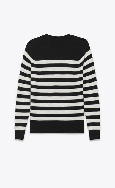 SAINT LAURENT Knitwear Tops D Boyfriend Sweater in Black and Ivory Striped Cashmere b_V4