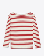 SAINT LAURENT T-Shirt and Jersey D Marinière Marlon Long Sleeve Top in Ivory and Red Striped Cotton f