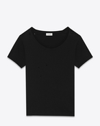 SAINT LAURENT T-Shirt and Jersey D Ripped Short Sleeve T-Shirt in Black Cotton Jersey f